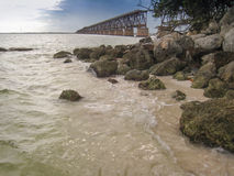 Bridge to Nowhere in Florida Keys. Remnant of an old railway bridge rests unused in the Florida Keys stock photo