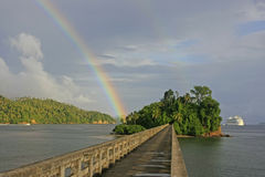Bridge to Nowhere, Samana Bay. Bridge to Nowhere with rainbow, Samana Bay, Dominican Republic stock photography