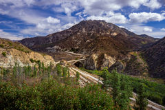 The Bridge to Nowhere. View of The Bridge to Nowhere set against the San Gabriel Mountains in Angeles National Forest, California stock images