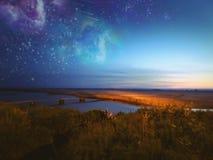 Bridge to ocean stars Royalty Free Stock Image