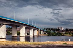 The bridge to the other side. Kostroma. Bridge over the Volga River. Russia stock image