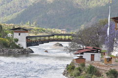 Bridge to Punakha Dzong in Bhutan Stock Photo