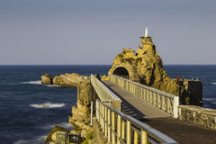 Bridge to Rocher de la Vierge rock in Biarritz, France Stock Photography