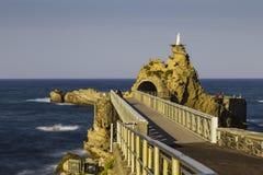 Bridge to Rocher de la Vierge rock in Biarritz, France Stock Photography