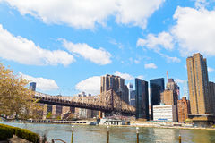 The bridge to Roosevelt Island during cherry blossom in New York City. Royalty Free Stock Photography