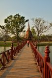 Bridge to ruin pagoda Royalty Free Stock Photography