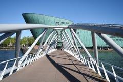 Bridge to Science and Technology Museum NEMO, Amsterdam. stock photos