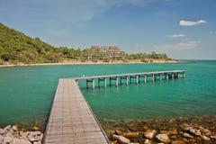Bridge in to the sea. Laem Ya Pier at Kao Laem Ya-Moo Koh Samed National Park ,Thailand Stock Image