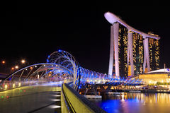 Bridge to singapore city at night Stock Images
