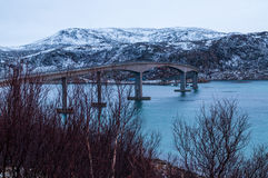 Bridge to Sommaroy island in Norway Royalty Free Stock Photo