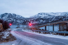 Bridge to Sommaroy island in Norway Stock Images