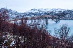 Bridge to Sommaroy island in Norway.  Royalty Free Stock Photos