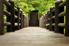 Bridge to steps to..... Stock Images