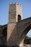 Bridge to Stronghold Besalu, Spain Stock Photo
