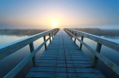 Bridge to sunrise sun Royalty Free Stock Photography