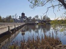 Svyato-Vvedensky Island Monastery near Pokrov town. Bridge to Svyato-Vvedensky Island Monastery near Pokrov town, Russia Royalty Free Stock Images