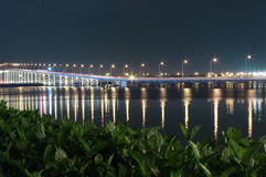 Bridge to Taipa in Macao. At night time. March 2014 Royalty Free Stock Photography