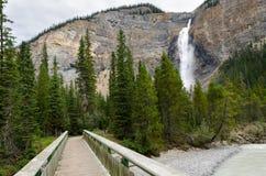 Bridge to the Takakkaw waterfall Royalty Free Stock Photo