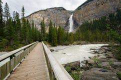 Bridge to the Takakkaw waterfall. Bridge near the Takakkaw waterfall in Banff in Canda Royalty Free Stock Images