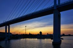 Free Bridge To The Island Of Rügen With Sunset And View Of Stralsund. Germany Stock Photos - 159921793
