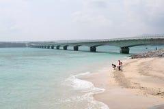 Bridge to Yagaji Island. Bridge connecting islands on Northern Okinawa Stock Image