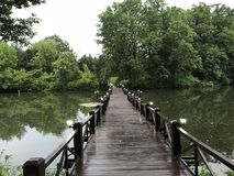A bridge on top of a lake. A beautiful bridge in middle of nature . Perfect place to take a photo stock image