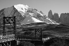 Bridge, Torres Del Paine, Patagonia, Chile. Thos black and white landscape photo is of an old bridge on the hike to Torres del Paine national Park. It is winter Royalty Free Stock Photography
