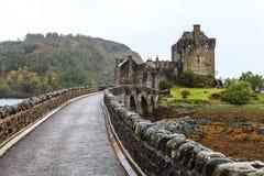 Bridge towards Eilan Donan castle in Scotland Royalty Free Stock Images