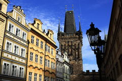 Bridge tower, historic buildings, Prague, Czech Republic Royalty Free Stock Images
