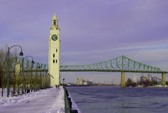 Bridge and tower in montreal royalty free stock photography