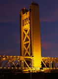 Bridge Tower at night Sacramento CA Royalty Free Stock Photography