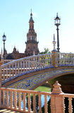 Bridge and tower at Plaza de Espana, Seville Spain Stock Photo
