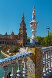 Bridge and Tower Spain Square, Plaza de Espana, Sevilla. Andalusia, Spain royalty free stock photography