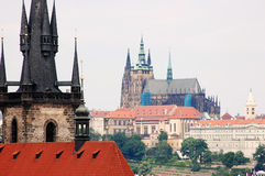 Bridge Tower and St Vitus Cathedral in Prague Royalty Free Stock Image