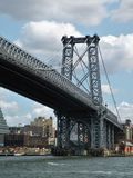 Bridge Tower of Williamsburg Bridge in New York City. Close up of one of the towers of the Williamsburg Bridge from Manhattan side looking at Brooklyn. East Royalty Free Stock Photo