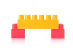 Bridge with toy bricks isolated Stock Photo