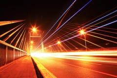 Bridge traffic at night Stock Images