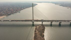 Hyperlapse. Bridge with trafic over the river aerial drone footage. stock video