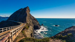 Bridge Trail to Point Bonita Lighthouse. In Marin with a view of the Pacific Ocean royalty free stock images