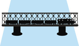 Bridge and train silhouette vector Stock Images