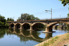 Bridge for trains near Beziers Royalty Free Stock Photos