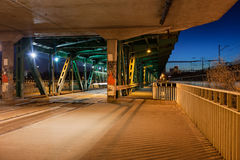 Bridge Tram Stop at Night Stock Image