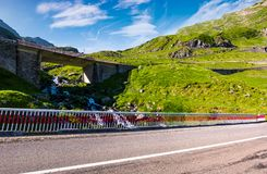 Bridge on transfagarasan route of Romania. Beautiful summer landscape in mountains stock photography