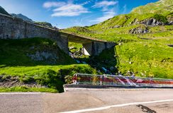 Bridge on transfagarasan route of Romania. Beautiful summer landscape in mountains royalty free stock photography