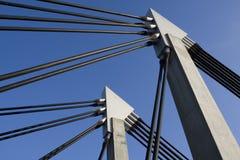 Bridge traverse. As a part of a construction suspension bridge stock image