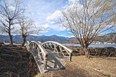 Bridge and tree in the Japanese hdr Royalty Free Stock Image
