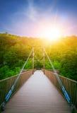 Bridge and trees on bright sunset. Small bridge over river and green trees on bright sunset Stock Photo