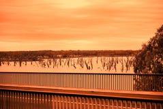Bridge, Trees, Riverland Royalty Free Stock Photo