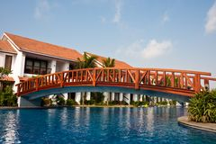 Bridge at a Tropical Resort Royalty Free Stock Photography