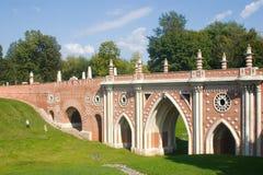 Bridge in Tsaritsyno. Park Tsaritsyno in Moscow. Big bridge Royalty Free Stock Images